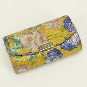 Vintage Yellow Metallic Floral Lipstick Case